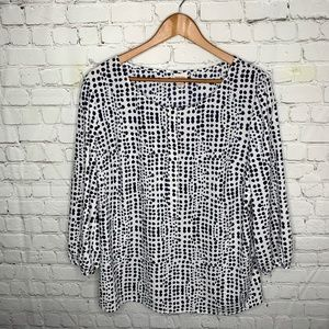 Merona Navy White Polka Dot Blouse Size XL
